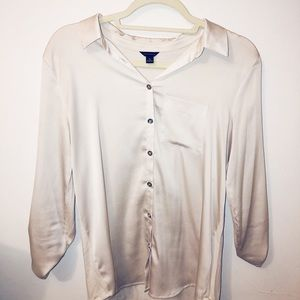 Gold Silk Button Down Ann Taylor Shirt Blouse